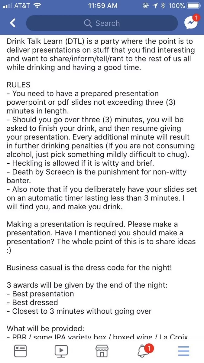 Drink Talk Learn rules