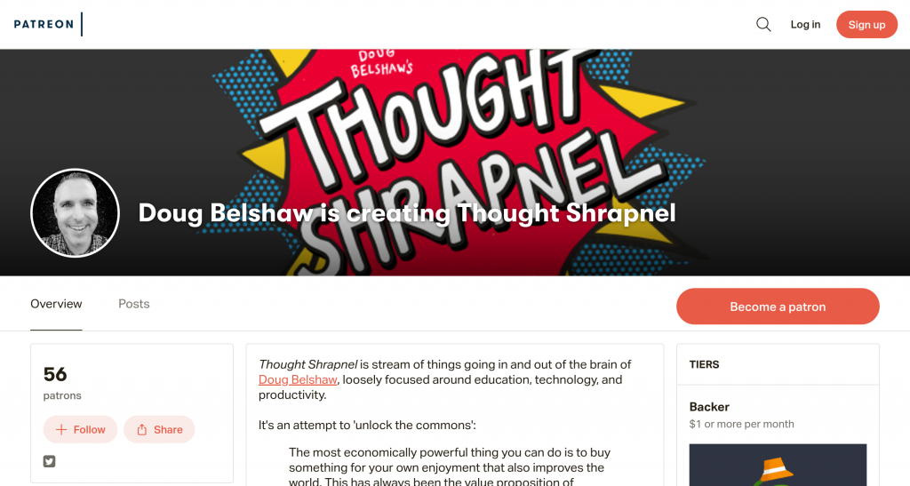 Patreon page for Thought Shrapnel