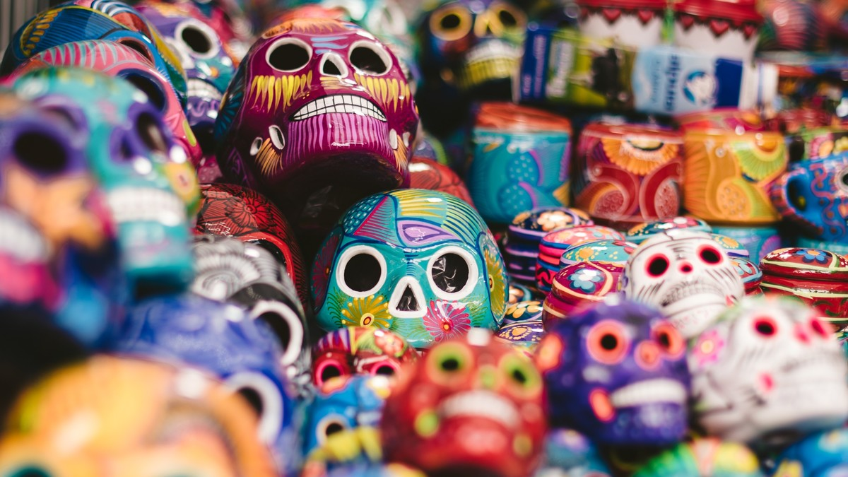 Colourful toy skulls