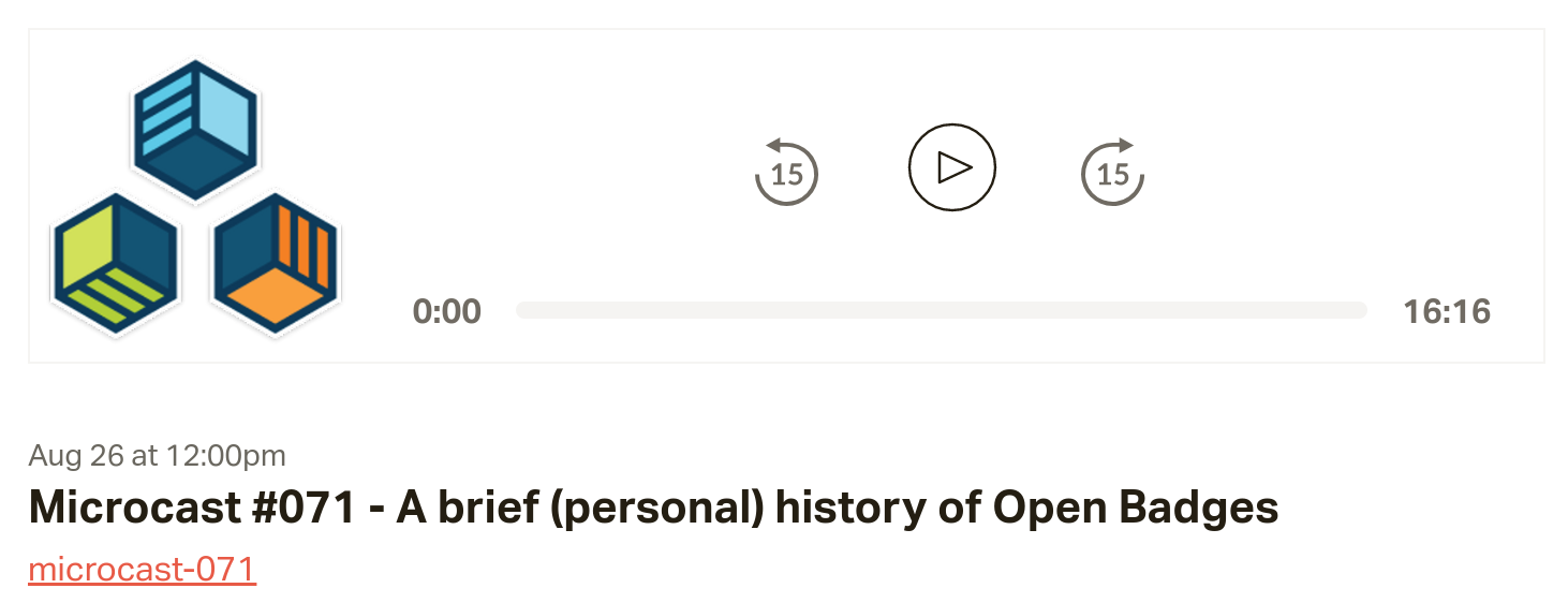 Microcast #071 - A brief (personal) history of Open Badges
