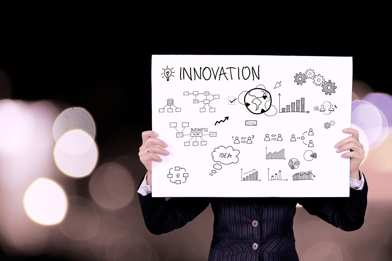 Someone holding up a sign saying 'innovation' (with diagrams)