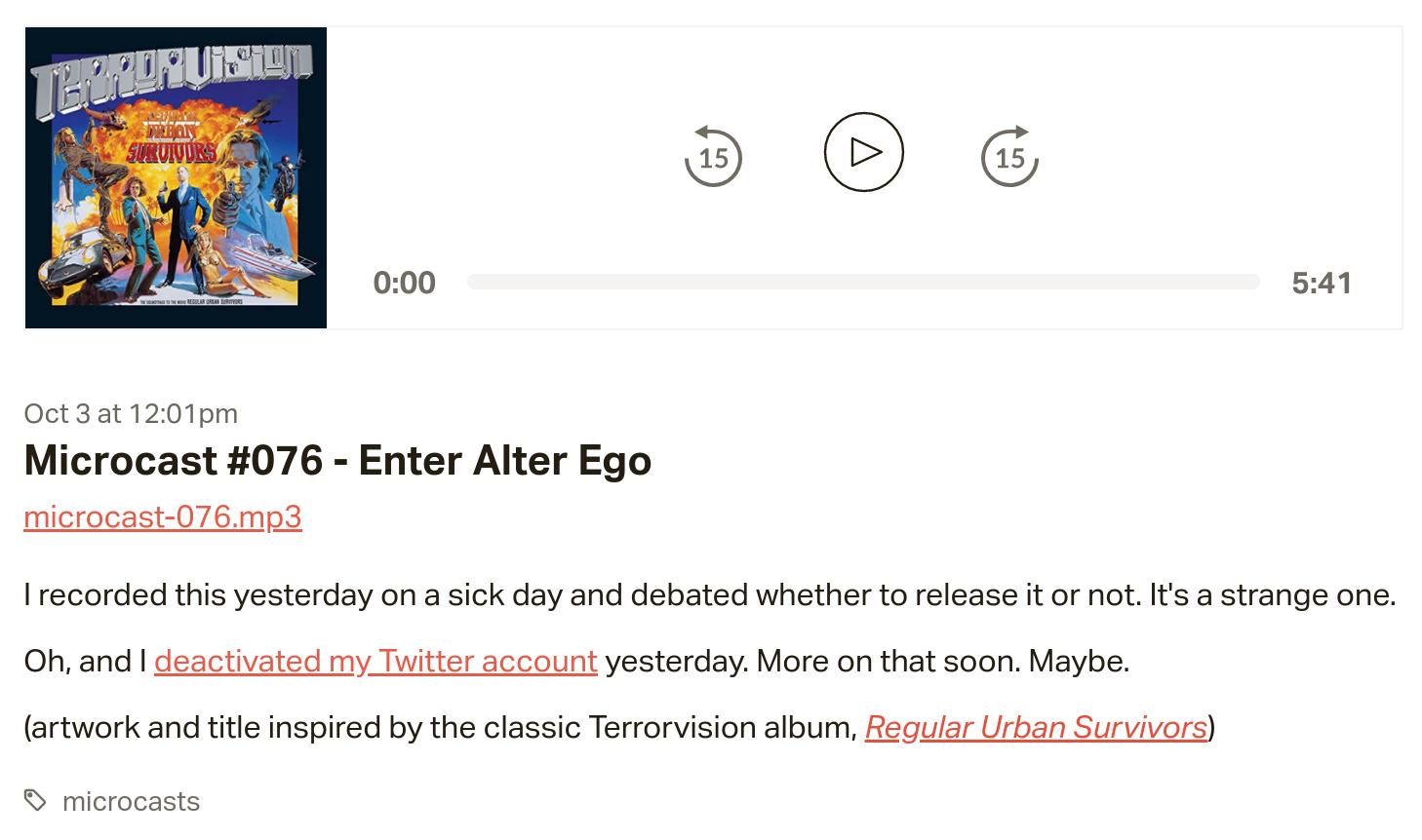 Microcast #076 - Enter Alter Ego
