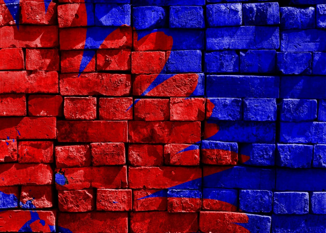 Blue and red brick