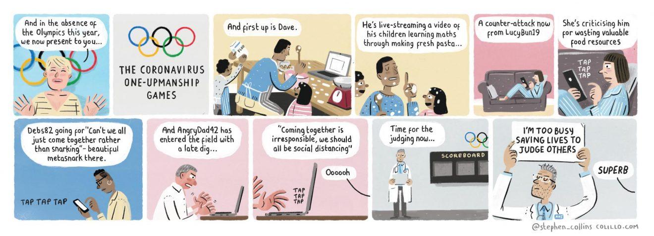 Stephen Collins on the coronavirus one-upmanship games – cartoon