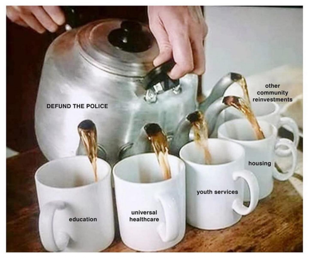 Teapot with label 'Defund the police' which has multiple spouts pouring into cups entitled 'Education', 'Universal healthcare', 'Youth services', 'Housing', and 'Other community investments'