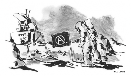 Astronaut on the moon with an Anarchist flag planted