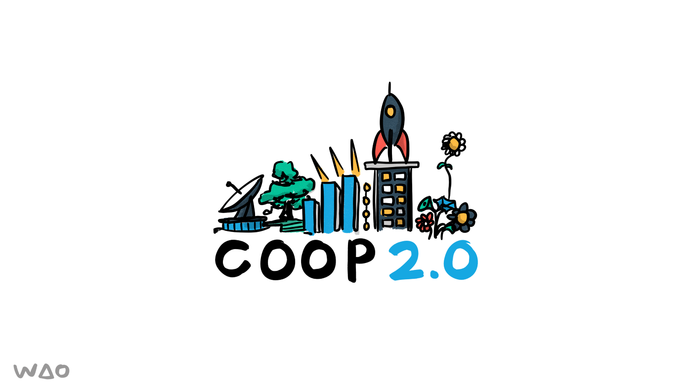 Co-op 2.0 logo showing various futuristic things