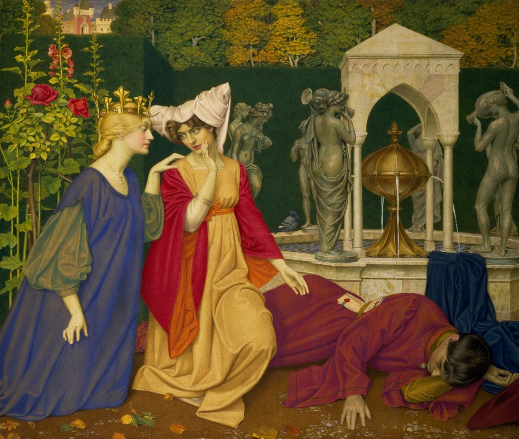 Changing the Letter, 1908, by Joseph Edward Southall. The subject is taken from the poem 'The Man Born to be King' from William Morris's 'The Earthly Paradise'. The sealed letter is addressed 'To The Governor'