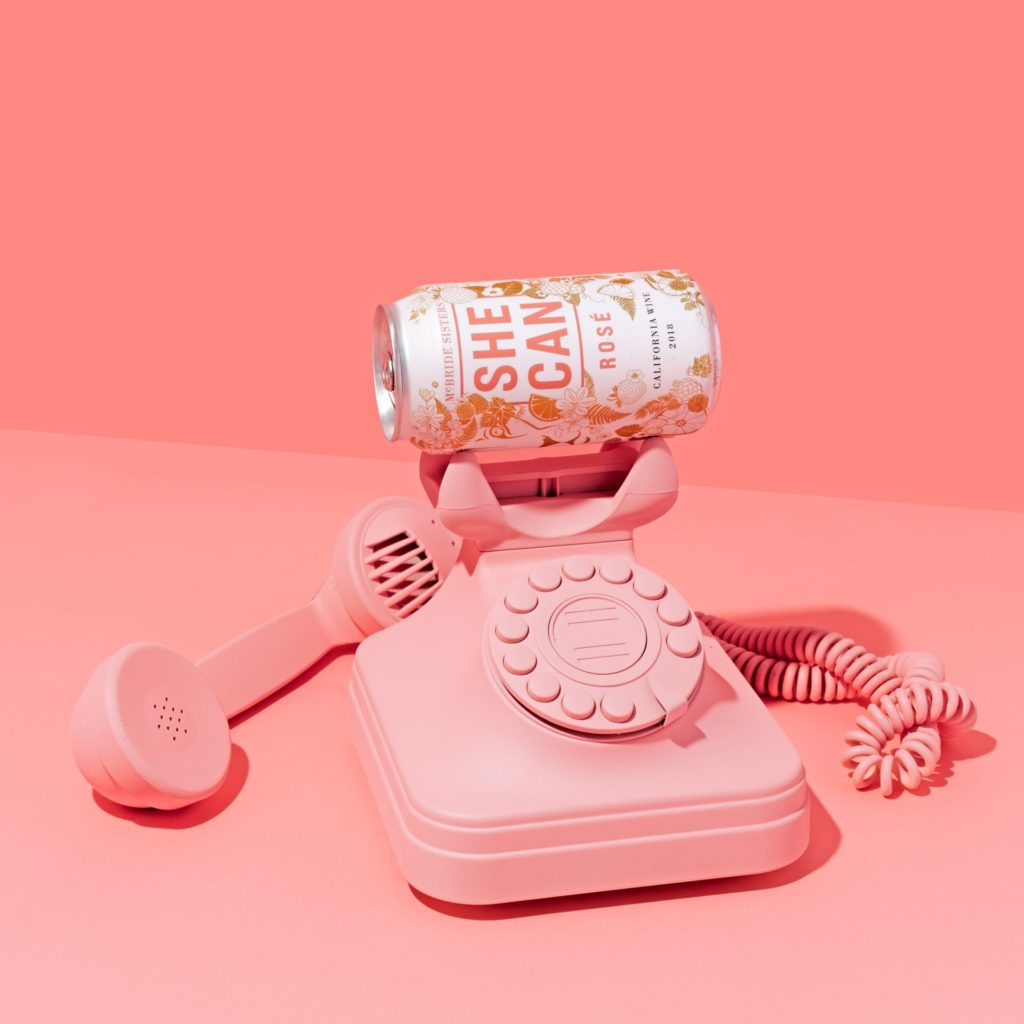 Can on rotary phone. Everything is pink.