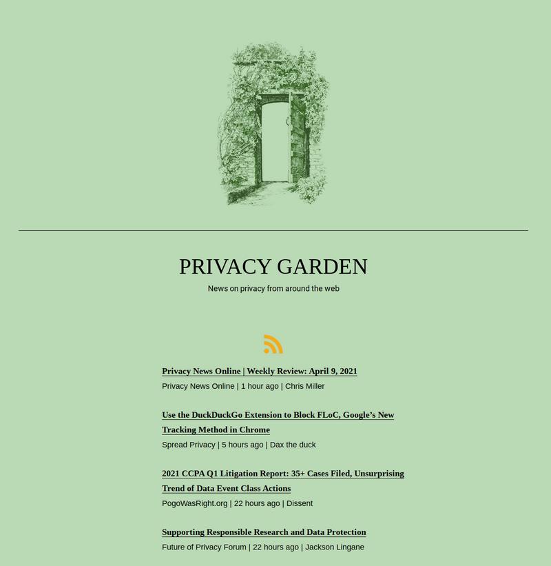 Screenshot of privacy.garden